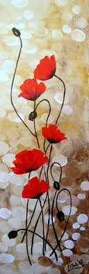 original acrylic painting red poppies flowers fields red beige brown fl abstract original fine art contemporary art made to order