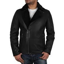 men s black shearling sheepskin jacket fay loading zoom