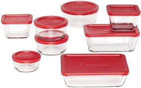 anchor hocking bakeware mixing bowl prep bowls and classic glass food storage containers with lids 16 piece set clear 92092l11