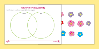 Venn Diagram Practice Sheets Venn Diagram Flower Sorting Worksheet Maths Resource Twinkl