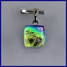 small glass pendant made of dichroic glass