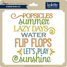 Summer Word List Summer Word List