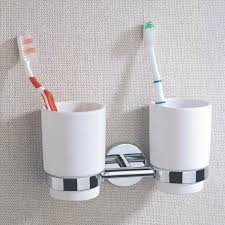 2018 chrome plate brass bathroom double tumbler holders with ceramic cup wall mounted toothbrush holders for whole from cloud power