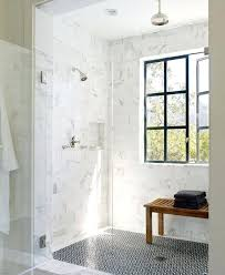 white shower tile black and marble walls with gray grout