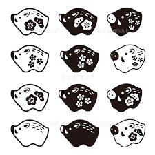 猪の置物アイコンイラスト 亥年 年賀状素材の画像素材41130901