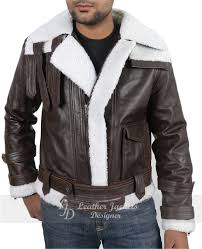 new winter fashion faux fur fleece wool lined mens luxury slim brown leather coat front pose