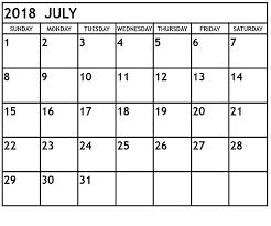 Blank Editable Calendar July Calendar For 2018 Printable Editable Template