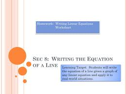 sec 8 writing the equation of a line n