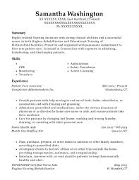Best Internship Certified Nurse Aide Resumes Resumehelp