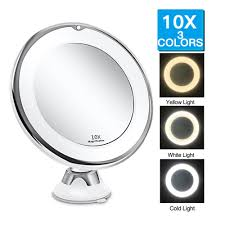Flexible Lighted Makeup Mirror Big Sale E1ac6 3 Colors Lighted 10x Magnifying Led Makeup