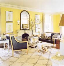 Living Room:Fancy Yellow Living Room With Light Yellow Wall Paint Combine  Black Sofa Sets
