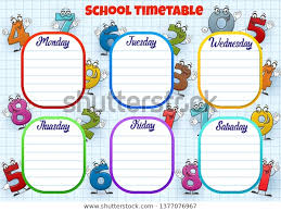 School Timetable Weekly Lessons Schedule Planner Stock