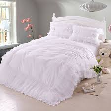 luxury white lace falbala ruffle bedding set queen size