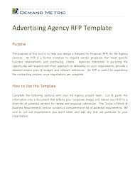 Template For Advertising Advertising Agency Rfp Template