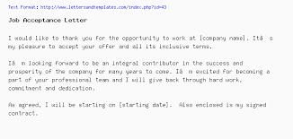 letter of job acceptance job acceptance letter