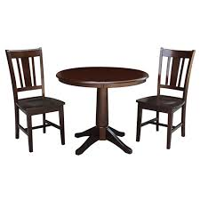 international concepts rich mocha 36 inch straight pedestal dining table with two san remo chairs