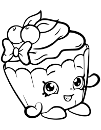 Cherry Nice Cupcake Shopkin Coloring Page Free Printable Coloring