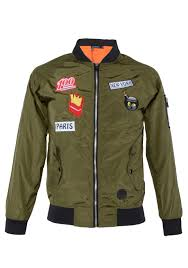 men er jacket army green with patches