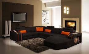 Black and Orange Sectional Sofa with Chaise modern-living-room