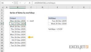 Sundays Only Calendar Excel Formula Series Of Dates By Workdays Exceljet