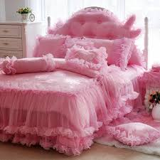 elegant girls pink ruffle fluffy lace design luxury princess style twin full queen size bedding sets
