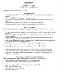 Custodial Worker Resume Entrancing Custodian Resume Sample