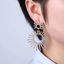 <b>luxury</b> gold plated full <b>rhinestones</b> shiny sun <b>tassel earring</b> at ...