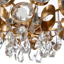 1960s five light gilt brass and crystal glass chandelier attributed to gaetano sciolari