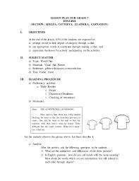 Word cline lesson plan