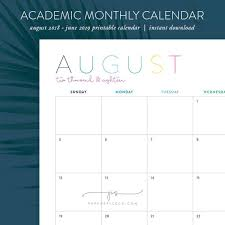 Monthly Academic Calendar Printable Monthly Academic Calendar August 2018 June 2019 Portrait Diy Monthly Home Organization Instant Download