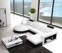 Furniture White L Shaped Leather Sectional Sofa With Glass Table - Living room furniture white