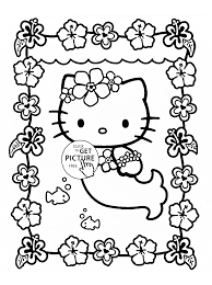 Coloring Pages Hello Kitty Printable Is Mermaid Page For Kids Girls