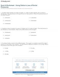 quiz worksheet using dalton s law of partial pressures com print dalton s law of partial pressures calculating partial total pressures worksheet