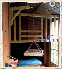 Need a pulley system for stuff in the tree fort. And a knotted rope for  climbing, and a proper ladder (so i can get up there!
