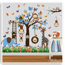 owl monkey wall stickers animals jungle zoo nursery baby kids bedroom decals art on baby boy wall art nursery with nursery wall art ebay