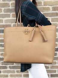 tory burch nwt tory burch mcgraw leather large tote baguette saddle tan tassel logo thea com