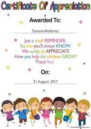 Certificate Of Appreciate Certificate For Educators Template Aussie Childcare Network