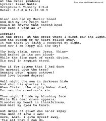 At The Cross Where I First Saw The Light Lyrics Good Old Hymns At The Cross Hudson Lyrics Sheetmusic
