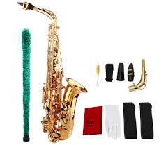 package contents 1 x saxophone 3 x mouthpieces 1 x cotton brush 1 x cleaning cloth 1 x pair of gloves 3 x shoulder strap 1 x hairbrush 1 x case