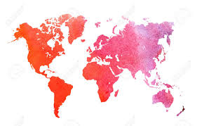 Hand Drawn Watercolor World Map Isolated On White Background