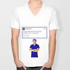 Patrick Dempsey -Goodbye tweet Greys Anatomy Unisex V-Neck by awesomenessx