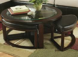 Remarkable Dark Round Modern Glass Top Coffee Table With Seating Design