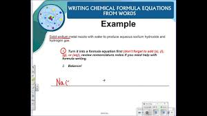 writing chemical formula equations from word equations