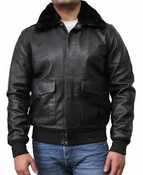 men s classic style black leather er jacket with fur collar