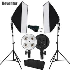 new photo studio photography light continuous lighting softbox kit and double 4 e27 socket tote bag eu plug ce certifi
