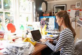 running home office. Stock Photo - Woman On Laptop Running Business From Home Office O