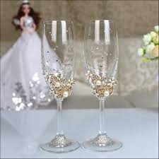 wonderfull 1 set personalized wedding set champagne glasses diamond decoration with wedding wine glass decorations
