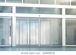 office glass door. Blank Sliding Glass Doors Entrance Mockup, 3d Rendering. Commercial Automatic Entry Mock Up. Office Door P