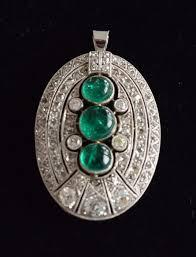 antique emerald diamond pendant period 1910 1920