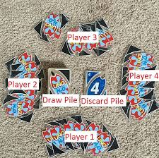 there are four hands of seven cards each one for each player as well as a draw pile and a discard pile let use my l33t paint skillz to show which is